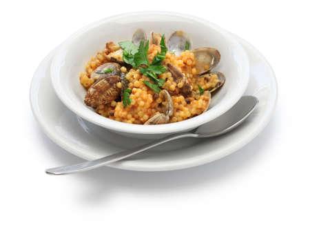 con: Sardinian pasta with clams, italian cuisine, fregula con vongole, fregola con arselle