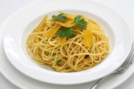 italian cuisine: spaghetti with bottarga, italian cuisine Stock Photo