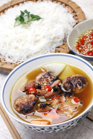 rice noodles: bun cha, grilled pork rice noodles and herbs and vietnamese cuisine Stock Photo
