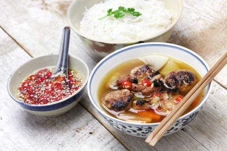 cha cha: bun cha, grilled pork rice noodles and herbs and vietnamese cuisine Stock Photo