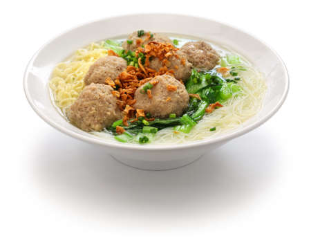 meatball soup with noodles, bakso and indonesian cuisine Stockfoto