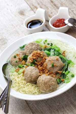 chicken noodle: meatball soup with noodles, bakso and indonesian cuisine Stock Photo