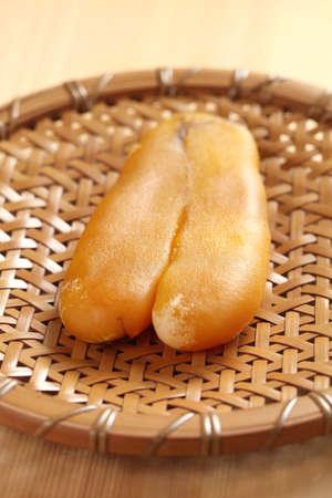 grey mullet: drying mullet roe by sunlight, homemade karasumi, japanese food