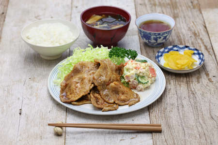 shogayaki, japanese ginger pork Stock Photo