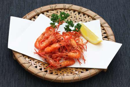 deep fried freshwater shrimp, kawaebi no karaage, japanese food