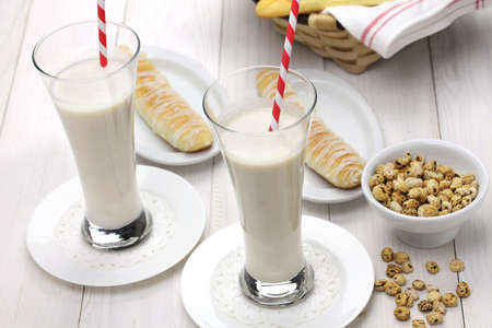 homemade horchata and fartons, spanish valencia soft drink and bread Foto de archivo