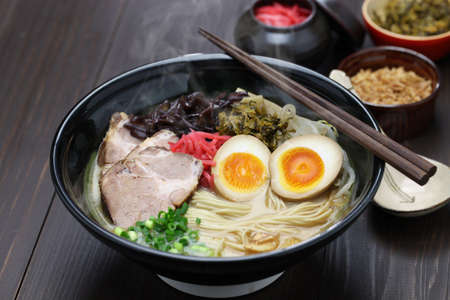Japanese tonkotsu ramen and pork bone broth noodles Stock Photo - 54144920