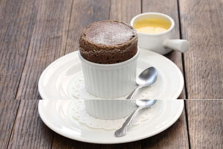 souffle: freshly baked chocolate souffle with creme anglaise and french dessert
