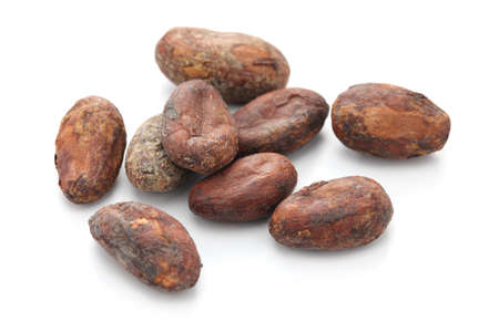 raw: raw cacao cocoa beans on white background Stock Photo