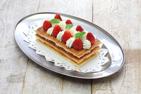 napoleon dessert: homemade strawberry millefeuille, Napoleon pie, french dessert Stock Photo