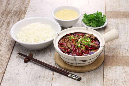 rou: Shui zhu, sliced beef in hot chili oil, chinese sichuan cuisine