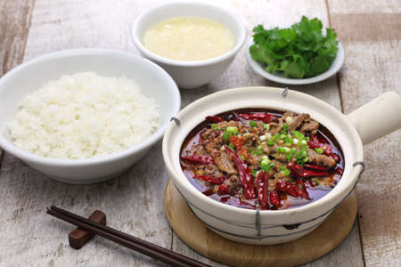 rou: shuizhu, shui zhu, sliced beef in hot chili oil, Chinese Sichuan cuisine