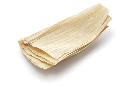 natural corn husks for making tamales 스톡 콘텐츠