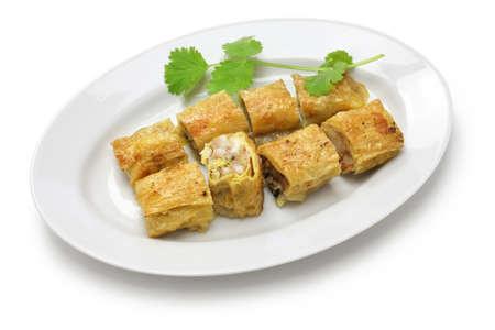 bean curd: fried shrimp tofu (bean curd) skin rolls, chinese dim sum food