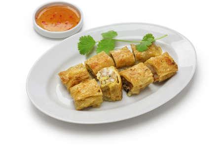 beancurd: fried shrimp tofu (bean curd) skin rolls, chinese dim sum food