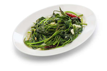 potato leaves: stir fried sweet potato leaves with garlic, chinese-taiwanese cuisine Stock Photo