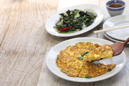 potato leaves: Taiwanese cuisine, dried radish omelet, stir fried sweet potato leaves