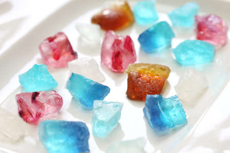 Japanese traditional confectionery, Kohakutou, dried sweetened agar jelly