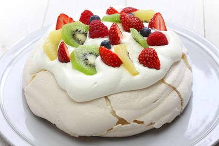Pavlova meringue cake, New Zealand Australian dessert