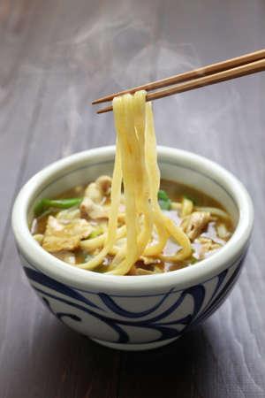 udon del curry, fideos japoneses plato sopero