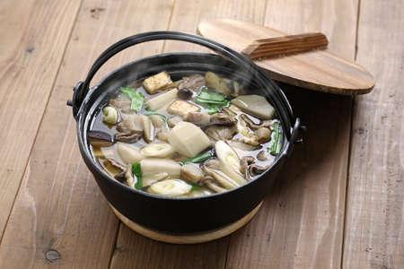 imoni japanese hotpot cooking, taro potato and beef