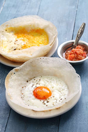 hopper: Sri lankan egg hopper, bittara aappa Stock Photo