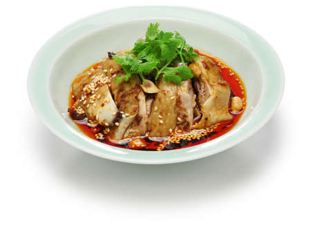 saliva chicken, mouthwatering chicken, poached chicken with chili oil sauce, China Sichuan cuisine