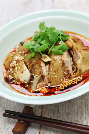china cuisine: saliva chicken, mouthwatering chicken, poached chicken with chili oil sauce, China Sichuan cuisine Stock Photo