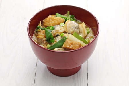 rice bowl: Fukagawadon, miso taste simmered clams rice bowl, Japanese traditional food
