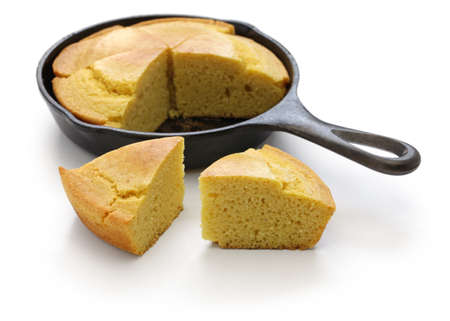 soul food: homemade cornbread in skillet, the cuisine of the Southern United States Stock Photo