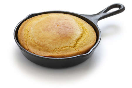 soul food: homemade cornbread in skillet, southern cooking