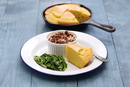 beans and greens with cornbread, the cuisine of the Southern United States