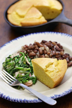 cornbread: beans and greens with cornbread, the cuisine of the Southern United States