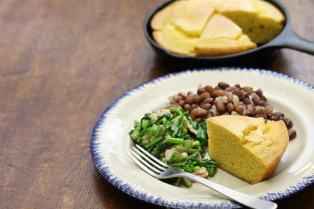 soul food: beans and greens with cornbread, the cuisine of the Southern United States