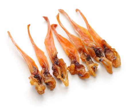 manjar: himegai, japanese food delicacy, dried marine product of trough shell Foto de archivo