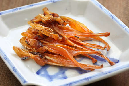 dried food: himegai, japanese food delicacy, dried marine product of trough shell Stock Photo