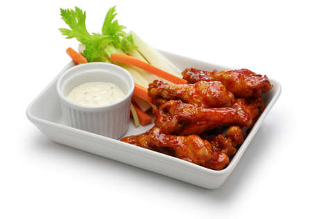 Buffalo chicken wings, american food isolated on white background Stock Photo