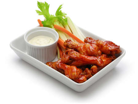 Buffalo chicken wings, american food isolated on white background 스톡 콘텐츠