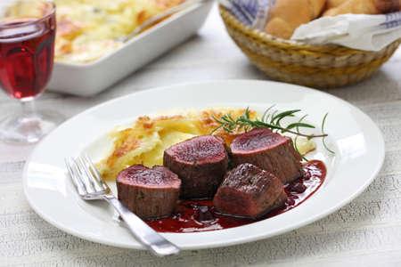 venison: venison steak with creamy baked potato