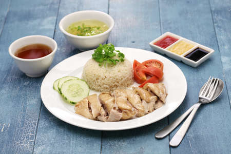 Hainanese chicken rice, singapore cuisine Stock Photo - 61495503