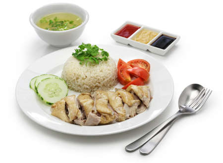 Hainanese chicken rice, singapore cuisine isolated on white background 스톡 콘텐츠