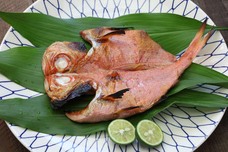 dried fish: grilled fish (golden eye sea bream), japanese cuisine Stock Photo