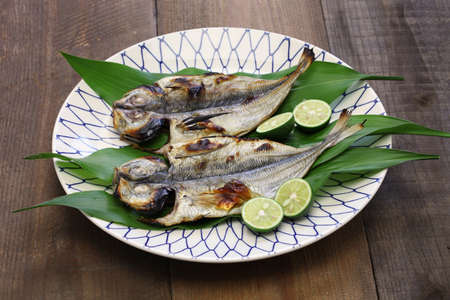 dried fish: grilled fish (horse mackerel), japanese cuisine
