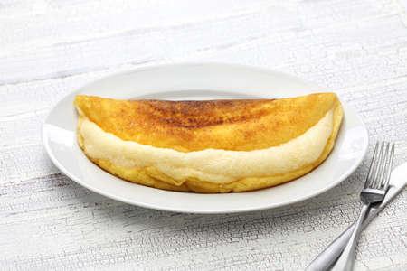 mont saint michel: homemade mont saint michel style fluffy souffle omelet Stock Photo