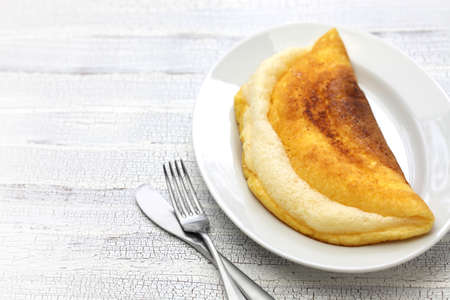 mont: homemade mont saint michel style fluffy souffle omelet Stock Photo