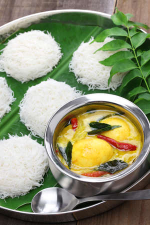 idiyappam (string hoppers) with egg curry, south indian and sri lankan cuisine