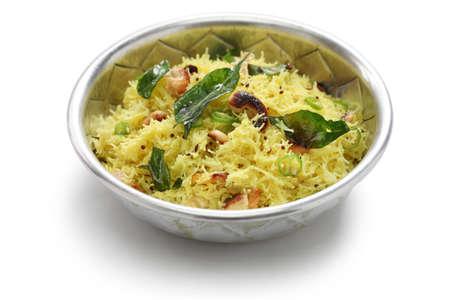 lemon sevai, lemon idiyappam, south indian breakfast cuisine isolated on white background