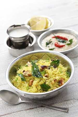 indian mustard: lemon sevai, lemon idiyappam, coconut chutney and milk coffee, south indian breakfast Stock Photo