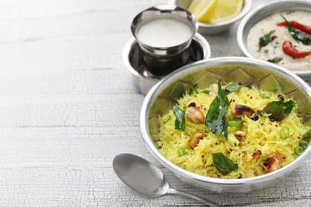 vermicelli: lemon sevai, lemon idiyappam, coconut chutney and milk coffee, south indian breakfast Stock Photo