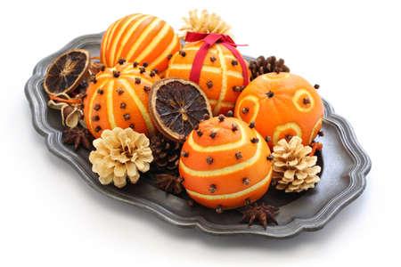 tree decorations: Orange pomander balls, christmas table decoration
